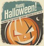 Retro- Plakatschablone mit Halloween-Kürbiskopf Lizenzfreie Stockbilder