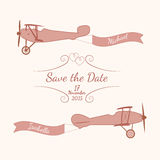 Retro planes with a wedding banner and names of newlyweds Royalty Free Stock Image