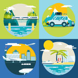 Retro Planning Summer Vacation, Tourism and Royalty Free Stock Photo