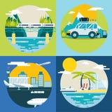 Retro- Planungs-Sommer-Ferien, Tourismus und Lizenzfreies Stockfoto
