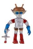 Retro plastic ruimtevaardersstuk speelgoed Stock Afbeeldingen