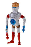 Retro plastic spaceman toy. Vintage 1950's plastic robot spaceman toy with retro ray gun isolated on white Stock Photography