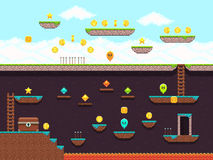 Retro platformer video game, vector gaming screen. Computer pixel game interface, illustration of platformer for vintage game Royalty Free Stock Photos