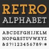 Retro- Platte Serif Alphabet Vector Font Lizenzfreie Stockbilder