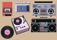 Retro player set, vintage player. Vector Stock Photo