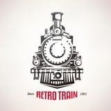 Retro pociąg, rocznika wektoru symbol Obrazy Stock