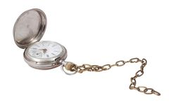 Retro pocket watch with a chain on a white background Royalty Free Stock Image