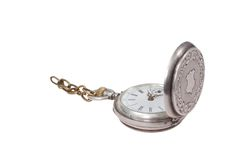 Retro pocket watch with a chain on a white background Stock Images