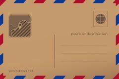 Retro pocztówka z papierową teksturą Wektorowa ilustracja koperta z wałkowym miejscem na mapie, Fotografia Stock