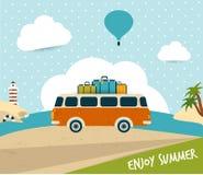 Retro podróż autobusu pojęcie. Obrazy Royalty Free