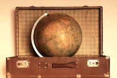 Retro podróży pojęcie Z kulą ziemską Obraz Royalty Free