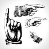 Retro pointing. Vintage and direction, finger-pointing and showing. Vector set retro Vintage pointing hand drawing Stock Photo