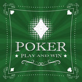 Retro poker  background with card symbol and ornate frame Stock Photography