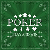 Retro poker  background with card symbol and ornate frame Royalty Free Stock Images