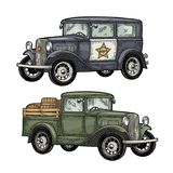 Retro police car and pickup truck with barrel. Vintage engraving. Retro police car sedan with sheriff star and pickup truck with wood barrel. Side view. Vintage Royalty Free Stock Images