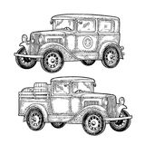 Retro police car and pickup truck with barrel. Vintage engraving. Retro police car sedan with sheriff star and pickup truck with wood barrel. Side view. Vintage Stock Photos