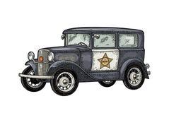 Retro police car sedan with sheriff star. Vintage color engraving. Retro police car sedan with sheriff star. Side view. Vintage color engraving illustration for royalty free illustration