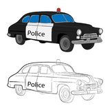 Retro police car vector drawing illustration stock photo