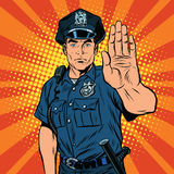 Retro police officer stop gesture Stock Image