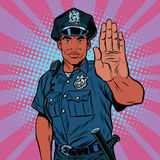 Retro police officer stop gesture Stock Images