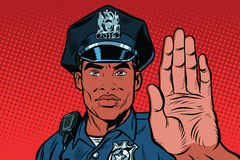 Retro police officer stop gesture Stock Photography