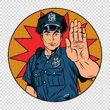 Retro police officer stop gesture Royalty Free Stock Images