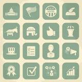 Retro politieke geplaatste pictogrammen van de verkiezingscampagne Royalty-vrije Stock Foto