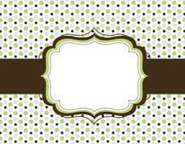 Retro polka dot background. Green and brown polka dots design and retro frame