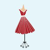 Retro polka dot dress. Vintage polka dot dress on diplay stand vector illustration