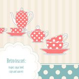 Retro polka dot tea set Royalty Free Stock Image