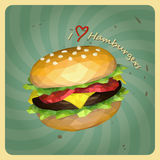 Retro polygon style hamburgers Royalty Free Stock Image