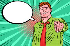 Retro pop-art Een Mens die voorwaartse vinger met het winnen van glimlach richten stock illustratie