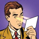 Retro pop art eye read rays superhero. Vector. The light from his eyes Stock Photos