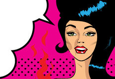 Retro Pop Art Hot Woman Love  illustration of smile  red lips. Retro Pop Art Hot Woman Love  illustration of smile Stock Image
