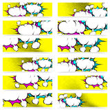 Retro pop art style comic book explosion web header footer colle Royalty Free Stock Image