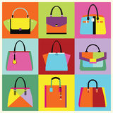 Retro pop art women handbag and purse set. Retro pop art different design women handbag and purse set poster Royalty Free Stock Images