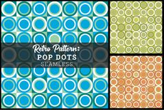 Retro Pop Dot Seamless Background Concentric Circles. Very 70s in retro color palette vector illustration