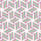 Retro Pop Geometrische Patroon van Art Colors Checkered Stripe Lines stock illustratie