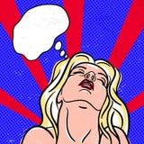 Retro pop-konst affisch med flickan Arkivbild