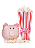 Retro popcorn with piggy bank cut out Royalty Free Stock Photo