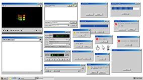 Retro popup browservensters en foutenmelding Model van uitstekende multimedia speler, stemregistreertoestel en dialoog stock illustratie