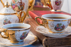Retro porcelain coffee cups with hot espresso closeup Royalty Free Stock Photos