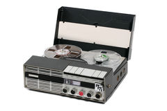 Retro portable open reel tape recorder. Classic german radio reporter open ree tape recorder stock image