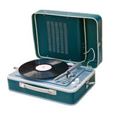 Retro portable turntable. Isolated. Clipping path included Stock Images