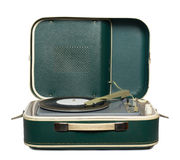 Retro portable turntable. With vinyl record isolated on white Royalty Free Stock Photography