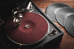 Retro portable turntable Stock Photo