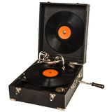 Retro portable turntable isolated on white Royalty Free Stock Photography