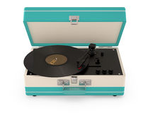 Retro portable turntable. Retro portable turntable isolated on white. (3D Render Stock Images