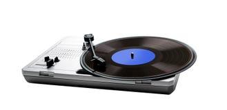Retro portable turntable and vinyl Stock Photo