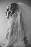 Retro- Porträt der schönen blonden Brautaufstellung Stockfotos